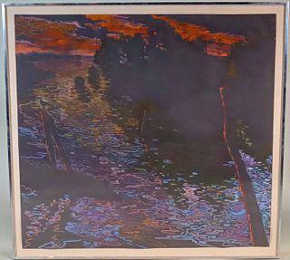 "Jack Beal, Pastel on Paper, ""Chincoteague Refuge"""