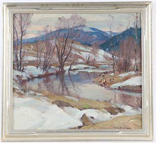 Emile A. Gruppe, Oil on Canvas, Winter Riverscape