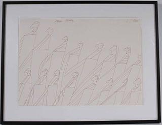 Oswald Tschirtner, Ink on Paper, Sixteen Men