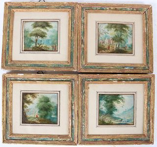 Four Oil on Copper Pastoral Scenes with Figures