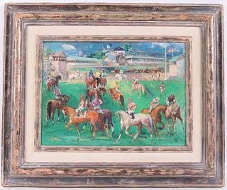 Jon Corbino, Oil on Canvas, Jockeys on Horses