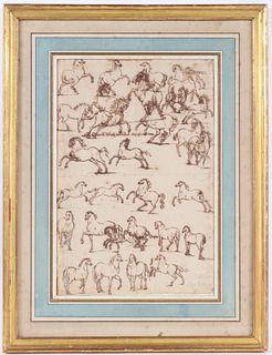 Sebastien Leclerc, Pen & Ink, Studies of Horses