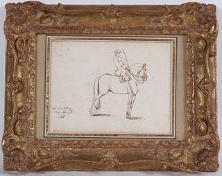 Johann Ridinger, Pen and Ink, Man on Horseback