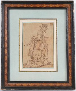 Pen & Ink, Lady in Elaborate Dress, Facing Right