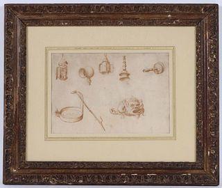 Pen and Ink, Studies of Seven Lighting Appliances