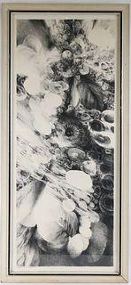 George Lockwood, Pencil/Ink Drawing, Flowers