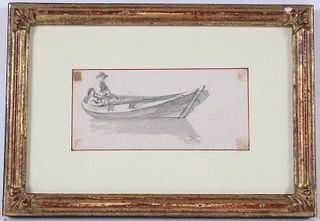 Chalk and Wash, Two Figures in Seated in a Boat
