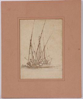 Claude Joseph Vernet, Mixed Media, Study of Boats