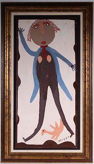 Mose Ernest Tolliver, Oil on Panel, Folk Art Man