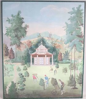 Painting on Canvas, Gardeners at Various Pursuits