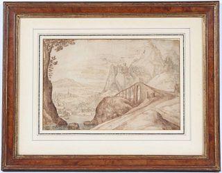 Pen, Ink & Wash Mountainous Landscape with Bridge
