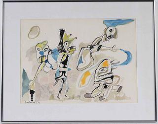 Jean Lucebert, Watercolor & Ink, Abstract Figures