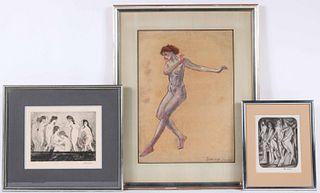 Arthur B. Davies, Mixed Media, Nude Female Dancer
