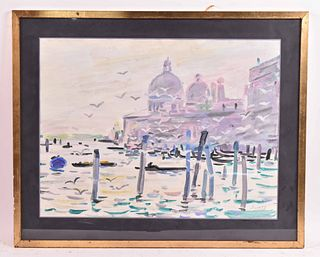 Gouache, Venetian Canal Scene, Robert Savary