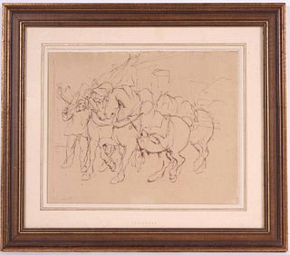 Pen and Brown Ink, Man Leading Horses and Wagon