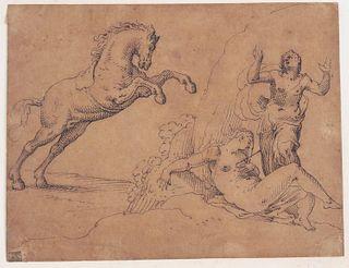Pen & Ink on Brown Paper, Cephalus & Procris