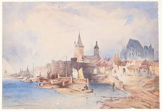 Michael Neher, Watercolor, View of Cologne