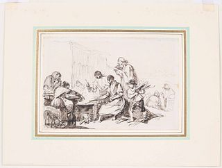 Leonardo Alenza Nieto, Pen & Brown Ink, Peasants