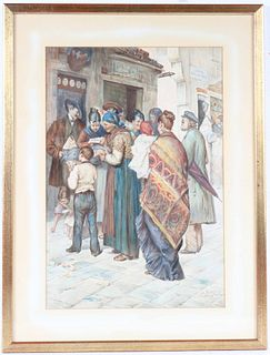 Watercolor, Italian Figures in Street, Favretto