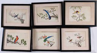 Six Chinese School Watercolors of Birds