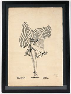 """Dick Prisk, Pen and Ink, """"Glory Girl"""""""