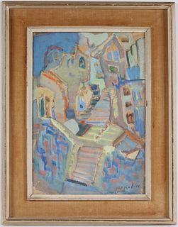 Mordechai Levanon, Gouache, View of Safed, Israel