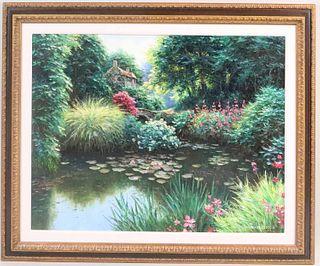 Henry Peeters, Oil on Canvas, Cottage on Pond