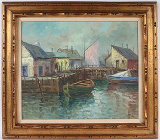 Oil on Canvas, New England Harbor Scene
