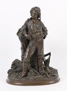 Paul Emil Machault, Bronze Sculpture, Peasant