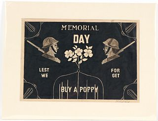 Dick Prisk, Pen & Ink, Memorial Day, Buy a Poppy