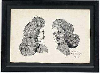 Dick Prisk, Pen and Ink, Profiles of Two Women