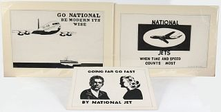 Three Dick Prisk, Pen and Ink, National Jet Ads