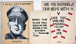 Three Dick Prisk, Mixed Media World War II Poster