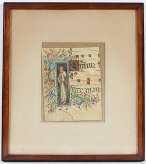 Illuminated Manuscript Fragment on Vellum