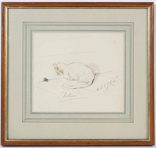 Martin Shee Archer, Pen & Ink, Study of Cat