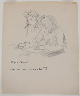 Peggy Brook Bacon, Drawing, Two Girls at Camp