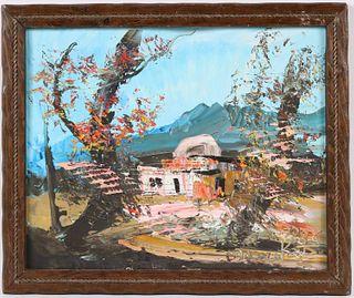 "Morris Katz, Oil on Board, ""Rachel's Tomb"""