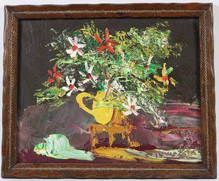 Morris Katz, Oil on Board, Flowers in Pitcher