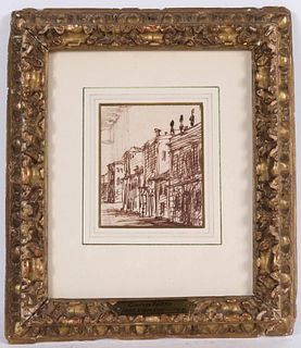 Pen and Brown Ink, View of a City Street