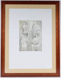 Henry Moore, Lithograph, Mother & Child Studies