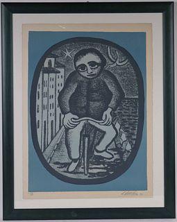 Giuseppe Viviani, Lithograph, Man in Street