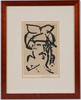 Pierre Alechinsky, Lithograph, Portrait of Man