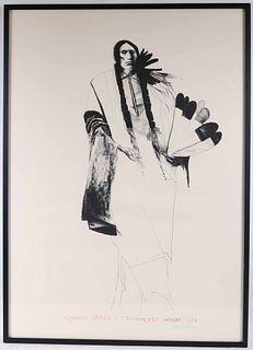 """Leonard Baskin Lithograph """"Quanah Parker Comanck"""""""