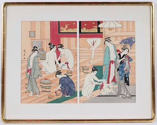 Japanese Woodblock Print Kiyonaga, Female Bathers