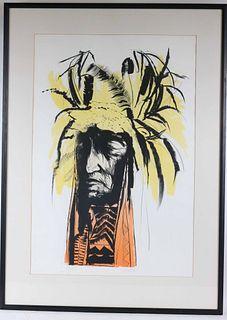 "Leonard Baskin, Lithograph, ""Lean Wolf"""