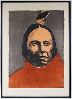 "Leonard Baskin, Print, ""Red Cloud"""