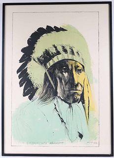 "Leonard Baskin, Lithograph ""Chief American Horse"""
