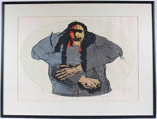 """Leonard Baskin, Lithograph, """"Oval Indian"""""""