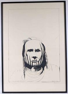 "Leonard Baskin, Lithograph ""Chief White Man"""