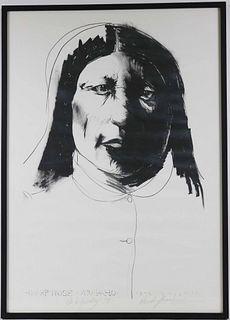 """Leonard Baskin, Lithograph """"Sharp Nose"""""""